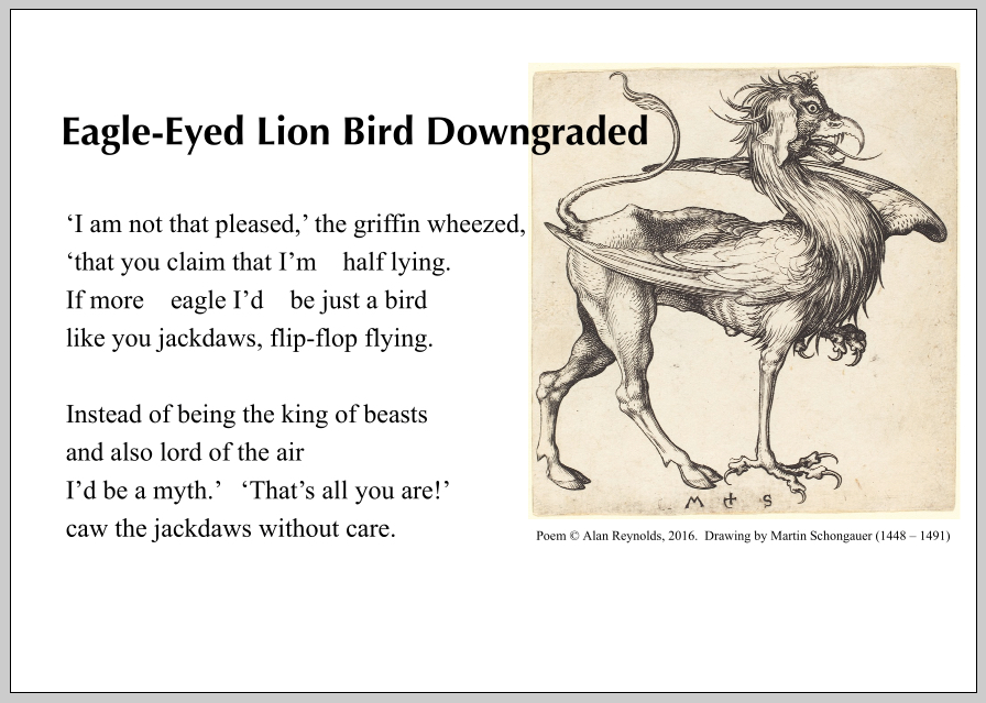Griffin poem and drawing